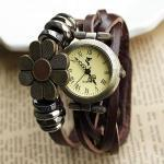 handmade Weave Sunflower Bracelet Watch-dark brown