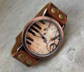 Retro Piano Leather Watch
