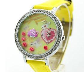 Cute Rhinestone Trim Polymer Clay Watch