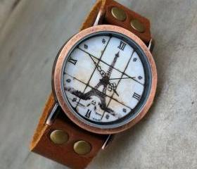 Roman Scale Retro Eiffel Tower Watch