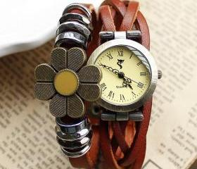 Handmade Weave Sunflower Bracelet Watch-brown