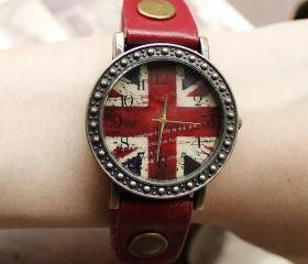 Fashion British Flag Watches-red