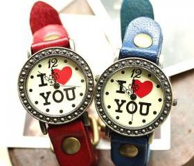 Retro Romantic I love You Watches-red