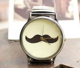 Funny Elasticity Beard Couple Watches- female