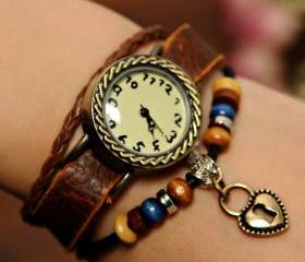 Retro Handmade Heart Bracelet Watch