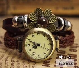 Leisure Rope Bracelet Watch-flower