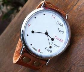 Unique White Dial Funny Pointer Leather Watch