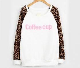 Fashion White Leopard Print Letters Sweater