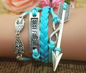 Cute Owl Arrow Infinity Best Friend Bracelet