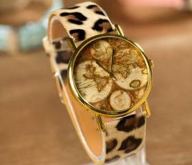 Retro Unusual World Map Leopard Printed Watch