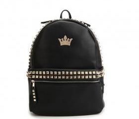 New Fashion Black Rivets Crown Backpack&Schoolbag