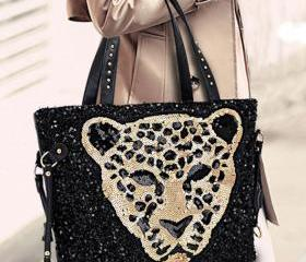Fashion Black Sequined Leopard Head Handbag&Shoulder Bag