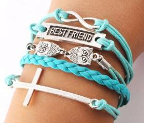 Cute Owl Cross Best Friend Infinity Bracelets