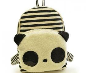 Cartoon Stripe Sequin Canvas School Bag