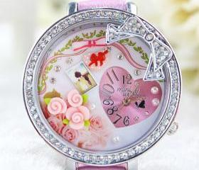 Romantic Bow Rose Polymer Clay Watch
