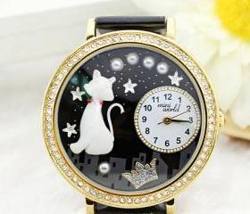 Cute Cat Crown Rhinestone Trim Watch