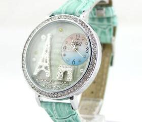 Fashion Eiffel Tower rhinestone trim Watch