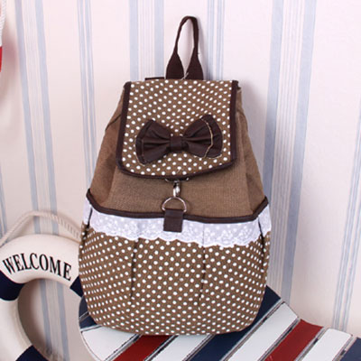 Cute Lace Polka-dot Bow Canvas Backpack-coffee on Luulla