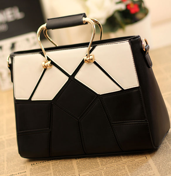 Fashion Style Black With White Handbags