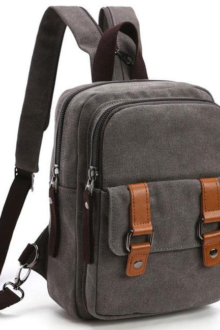 Splicing Belts Canvas Multifunction Shoulder Bag Dual-purpose Backpack
