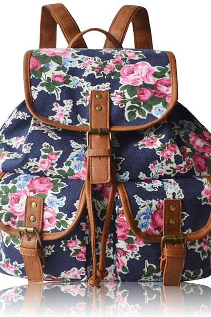 Flowers Printing Backpack Splicing PU Belts Draw String Flap Girl's Canvas Backpack