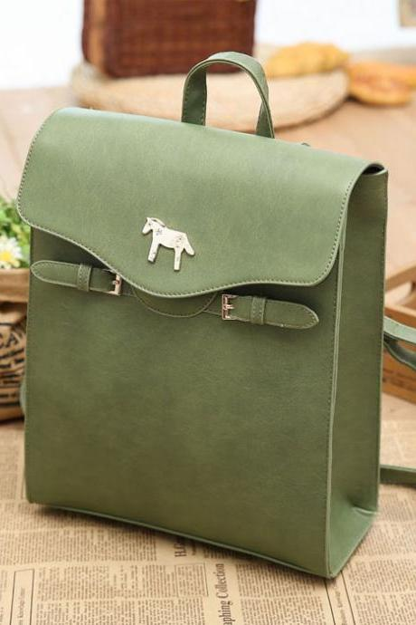 Green Horse Button PU School Bag College Backpack