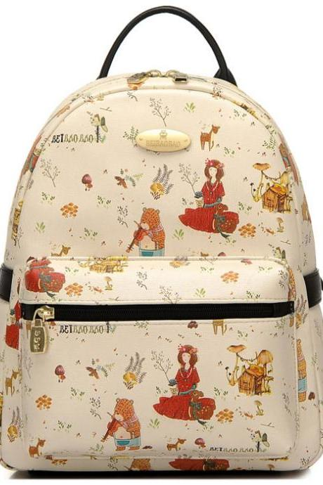 Cartoon Bear Girls Rucksack Lady Garden Style Backpack