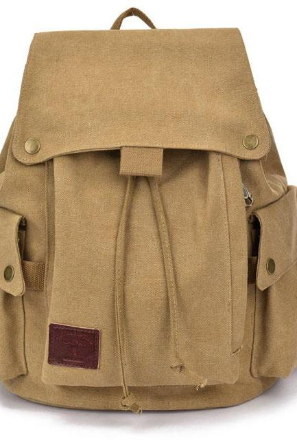 Canvas School Rucksack Leisure Brown Khaki Student Outdoor Backpack