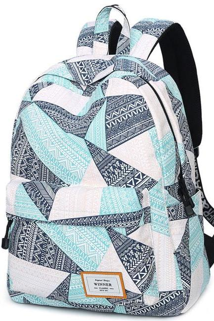 Geometric Pattern Printing Waterproof Large Capacity Girl's Canvas School Backpack