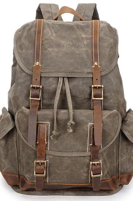 Washing Colors Waterproof Canvas Splicing Leather Belt Draw String Flap Large Travel Backpack
