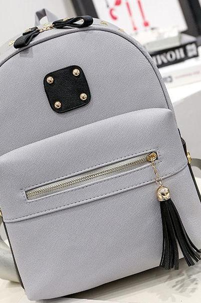 Rivets Patch Black Gray Tassel Large School Backpack