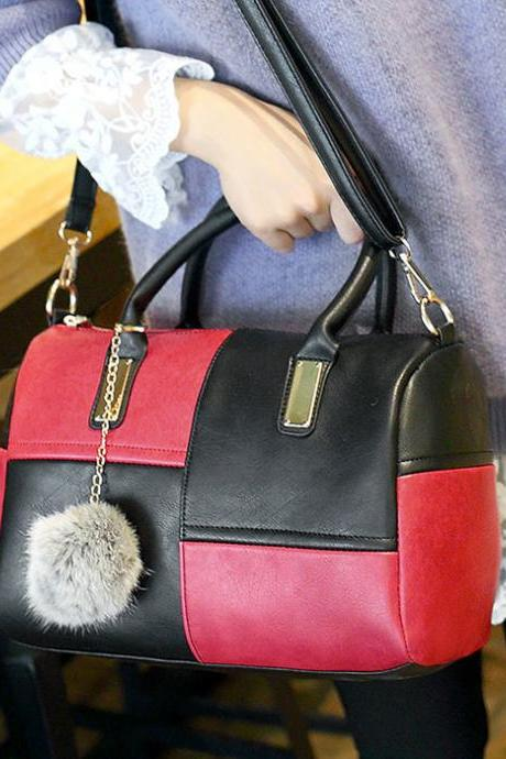 Fashion Contrast Color Grid Pillow Handbag Wool Ball Shoulder Bag