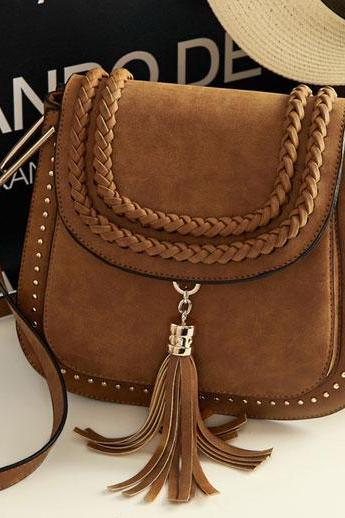 Retro Women Matte Saddle Messenger Bag Tassel Weave Shoulder Bag