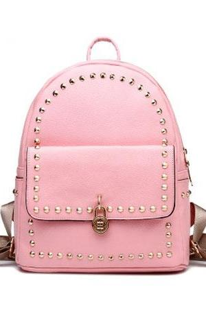 Fashion Simple Rivet Backpack Flower Lock Solid Color Schoolbag College Rucksack