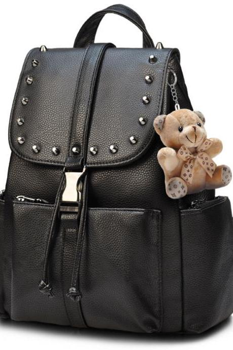 Punk Rivet Black Solid School Rucksack Bear Doll PU Travel Backpack