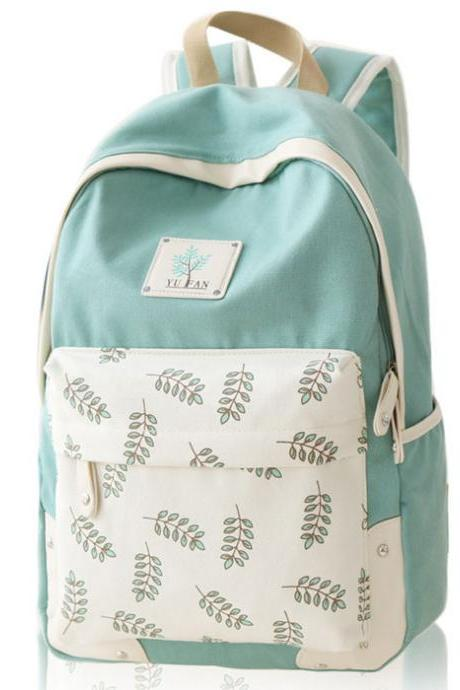 Sweet Leaf School Rucksack Leaves Printed Lady College Canvas Backpack