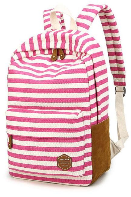 Leisure Travel Canvas Backpack Fashion College Striped Student Rucksack