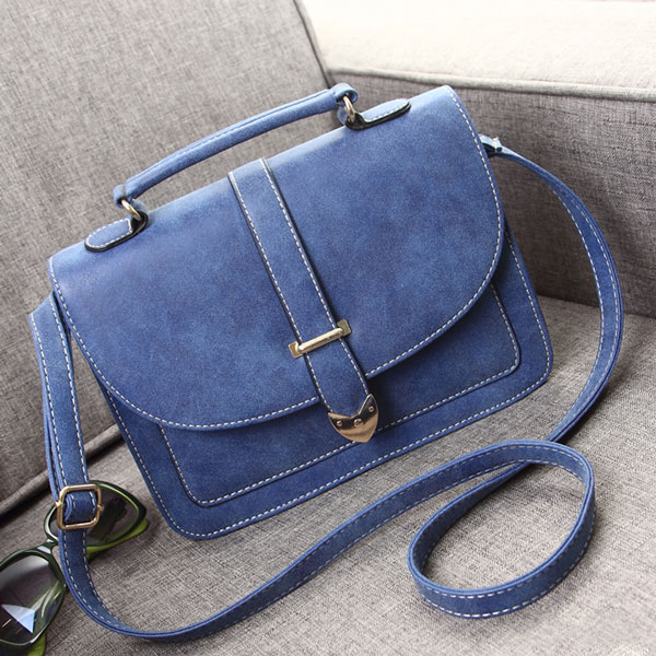 Buckle Nubuck Leather Shoulder Bag