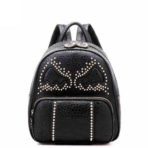 Bat Pattern Leather Backpack