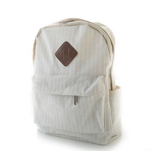 Beige Stripes Trunk Canvas Backpack