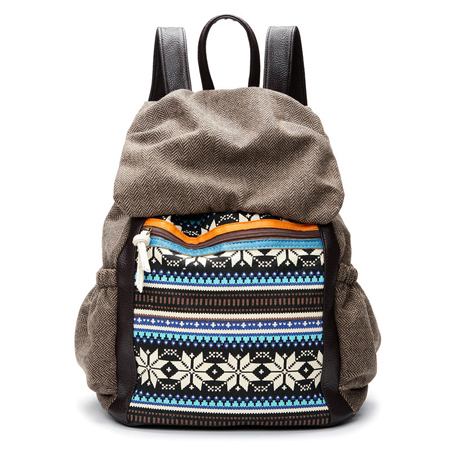 Folk Snowflake Stripe Pattern School Bag Mixed Colors Canvas Travel Backpack