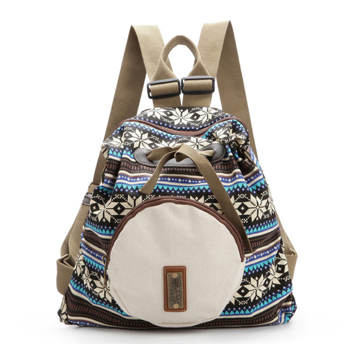 Unique Folk Geometry Snowflake Pattern Rucksack Front Circular Pocket Travel Backpack
